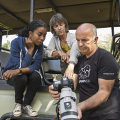 Dominique Gonçalves, Joyce Poole and Petter Granli discussing the elephants we have photographed. ©ElephantVoices.