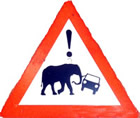 Warning sign at the entrance gates to the game drive circuits in Gorongosa National Park. ©ElephantVoices.