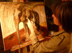 Joyce painting. (©ElephantVoices)